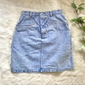 🌱Vintage 80s Blue Acid Wash High Waist Mini Skirt